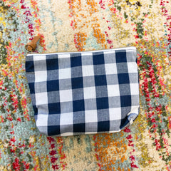 Navy Gingham Cosmetic Bag