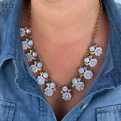 Kaytee Enamel Flower Statement Necklace - White