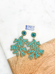 Coral Beaded Statement Earrings - Turquoise
