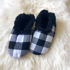 Mens Buffalo Check Snoozies! Slippers - White