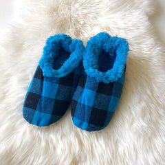Blue Plaid Snoozies Slippers for Men