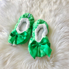 Kids Bow Snoozies! Slippers - Green