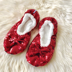 Kids Snoozies! Slippers - Red Bling