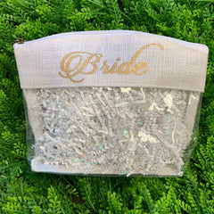 'Bride' Jute Cosmetic Bag