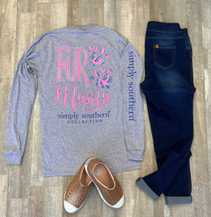 'Fur Mama' Paw Print Long Sleeve Tee by Simply Southern