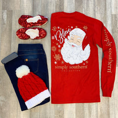 'Believe' Santa Long Sleeve Tee by Simply Southern