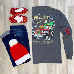 'Merry & Bright' Holiday Jeep Long Sleeve Tee by Simply Southern