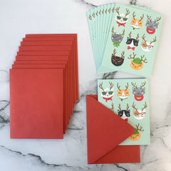 'Christmas Cat-itude' Holiday Greeting Cards - Set of 10