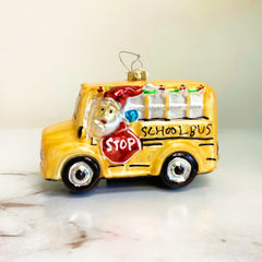 'Holiday School Bus' Glass Ornament by PBK
