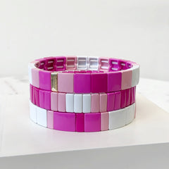 Annalise Multi Pink Square Bracelet Stack