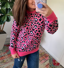 Pink Leopard Sweater by Simply Southern
