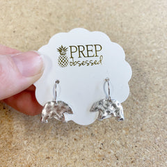 FINAL SALE: Silver Hammered Mama Bear Dangles