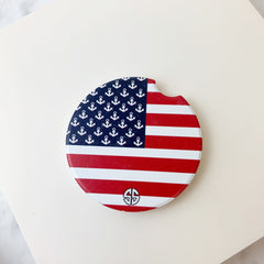'American Flag' Printed Car Coaster by Simply Southern