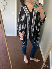 Lisa Black Floral Spring Weight Poncho