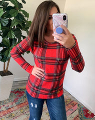 Plaid Long Sleeve Waffle Top by Simply Southern