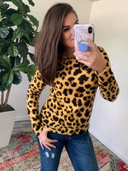 Leopard Long Sleeve Waffle Top by Simply Southern