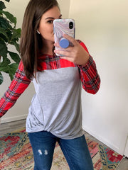 Plaid Front Knot Long Sleeve by Simply Southern