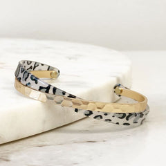 Makayla Hammered Gold Leopard Bangle - Gray