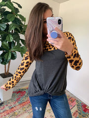 Leopard Front Knot Long Sleeve by Simply Southern