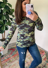 Camo Long Sleeve Waffle Top by Simply Southern