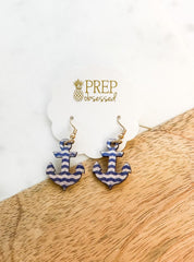 Striped Anchor Wood Dangles