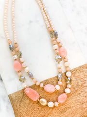Wendy Beaded Stone Necklace - Pink