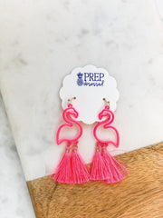 Neon Pink Flamingo Tassel Earrings