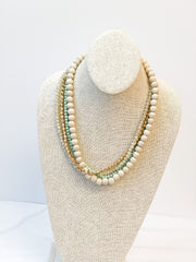 Lorraine Multi Bead Layered Necklace - Green