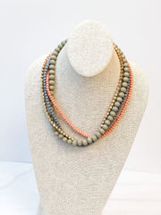 Lorraine Multi Bead Layered Necklace - Coral