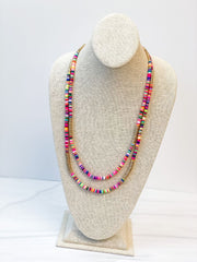 Eve Multi Layered Rainbow Rubber Bead Necklace