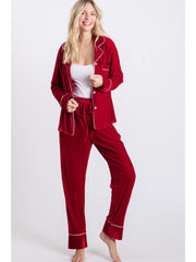 Velvet Long Sleeve Sleepwear Set - Burgundy