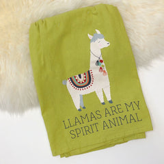 Final Sale: 'Llamas Are My Spirit Animal' Kitchen Towel by PBK