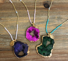 Long Beaded Druzy Necklace - Choice of Colors