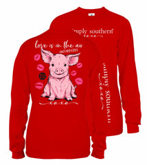 Youth 'Love Is In The Air' Pig Long Sleeve Tee by Simply Southern