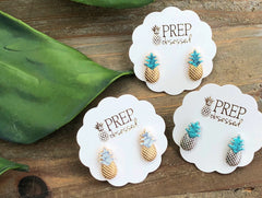 Lydia Semi-Precious Pineapple Studs - Multiple Colors Available