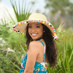 Multicolor Pom-Pom Floppy Hat (Ships in 2-3 Weeks)