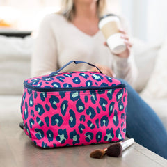 Hot Pink Leopard Cosmetic Bag (Ships in 3-4 Weeks)