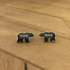 Mama Bear Signature Enamel Stud Earrings