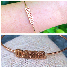 Mama cuff bracelet in rose gold