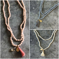 Melanie Long Beaded Necklace w/ Charms- Multiple Colors Available