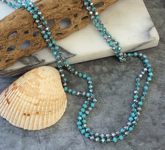Long Beaded Mermaid Blue Necklace at Prep Obsessed