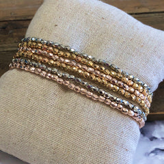 Stacked Mixed Metal Beaded Stretch Bracelets