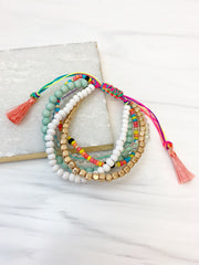 Adjustable Multi Beaded Bracelet Stack