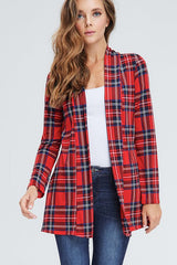 Micah Plaid Open Front Cardigan - Red/Navy