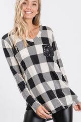 Arden Long Sleeve V-Neck Top with Sequin Pocket - Ivory Buffalo Check