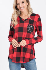 Arden Long Sleeve V-Neck Top with Sequin Pocket - Red Buffalo Check