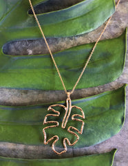Palm Leaf Pendant Long Necklace