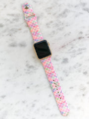 Pastel Mermaid Scales Printed Silicone Smart Watch Band