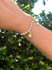 Pineapple and Pearl charm bracelet