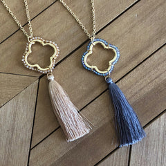 Quatrefoil Tassel Long Necklace